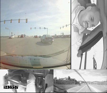 A four-camera view of a study participant in an instrumented vehicle